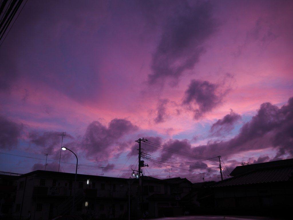 空が紫に!
