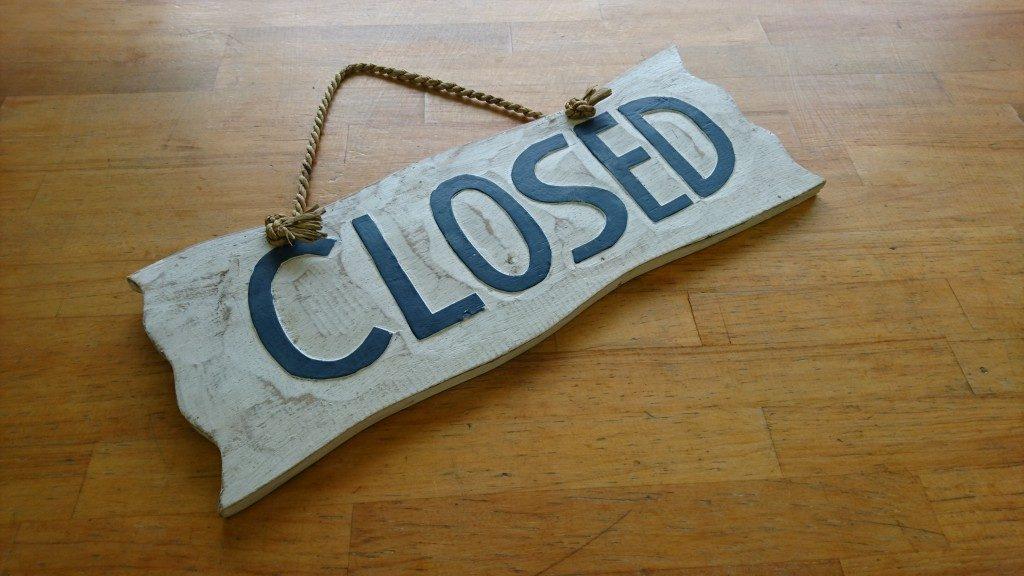 本日は終日閉店となります。